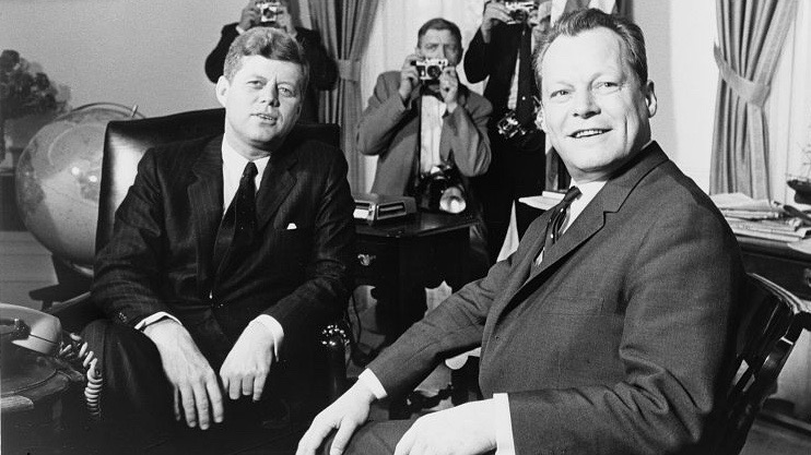President John F. Kennedy and Mayor Willy Brandt of Berlin at the White House